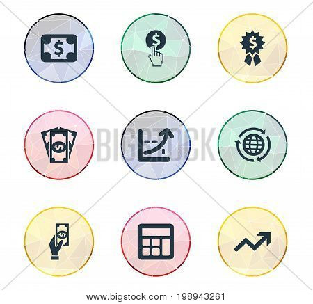 Elements Currency, Progress, International Business And Other Synonyms Calculator, Arrow And Worldwide.  Vector Illustration Set Of Simple Banking Icons.