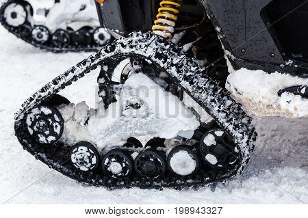 Snowmobile Caterpillar Close-up