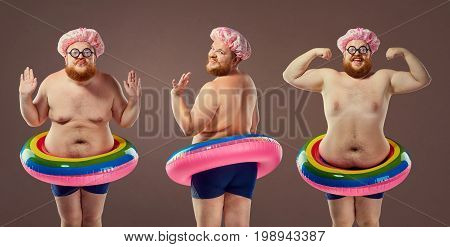 Collage fat funny man in a swimsuit with an inflatable circle.  Humor, freak, comedian.