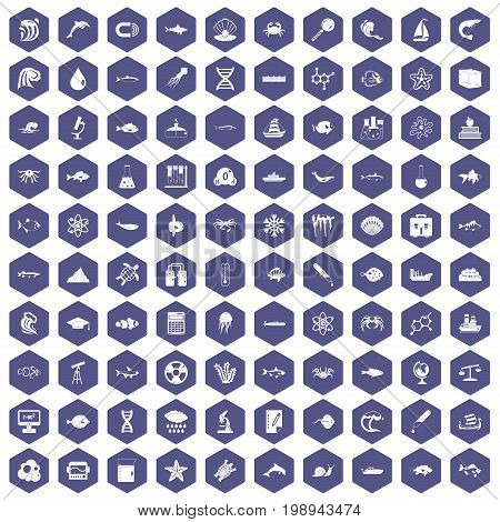 100 oceanology icons set in purple hexagon isolated vector illustration