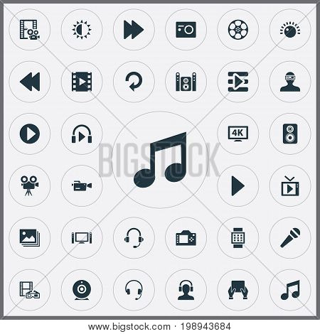 Elements Reel, Meloman, Rearward And Other Synonyms Loudness, Music And Gallery.  Vector Illustration Set Of Simple Media Icons.