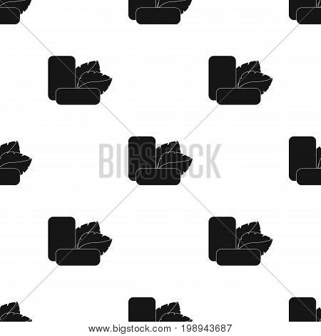 Mint chewing gum icon in black style isolated on white background. Dental care symbol vector illustration.