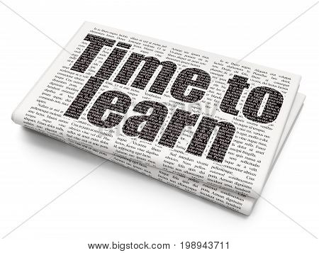 Learning concept: Pixelated black text Time to Learn on Newspaper background, 3D rendering