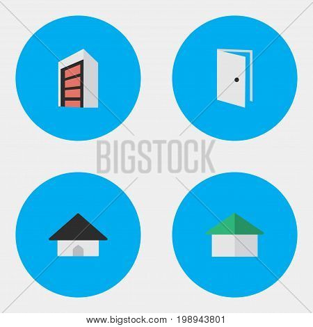Elements Base, Construction, Entry And Other Synonyms Open, Door And Entry.  Vector Illustration Set Of Simple Real Icons.