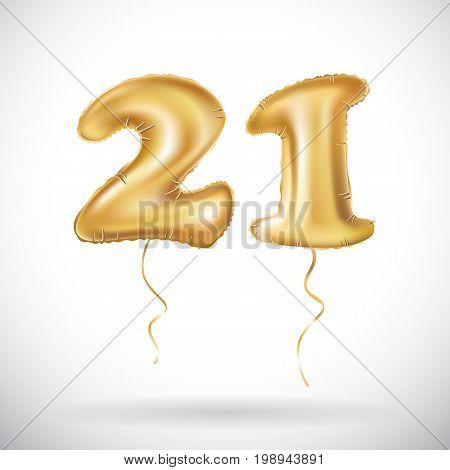 Golden number twenty one metallic balloon. Party decoration golden balloons. Anniversary sign for happy holiday celebration birthday carnival new year. 21 Metallic design balloon. art