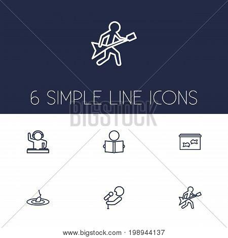 Set Of 6 Hobbie Outline Icons Set