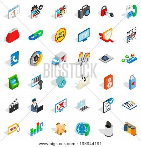 WWW marketing icons set. Isometric style of 36 www marketing vector icons for web isolated on white background