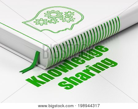 Learning concept: closed book with Green Head With Gears icon and text Knowledge Sharing on floor, white background, 3D rendering