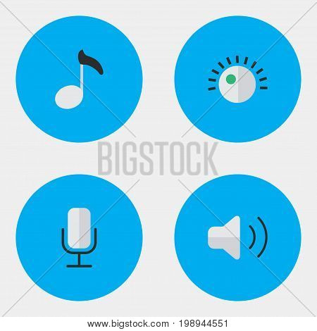 Elements Regulator, Note, Record And Other Synonyms Regulator, Loudness And Microphone.  Vector Illustration Set Of Simple Music Icons.