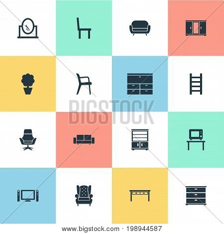 Elements Looking-Glass, Office Interior, Cupboard And Other Synonyms Armchair, Cushion And Mirror.  Vector Illustration Set Of Simple Furniture Icons.