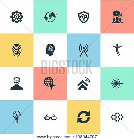 Elements Hi-Tech Spectacles, Mind, Change And Other Synonyms Refresh, Management And Change.  Vector Illustration Set Of Simple Innovation Icons.