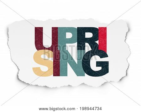 Political concept: Painted multicolor text Uprising on Torn Paper background