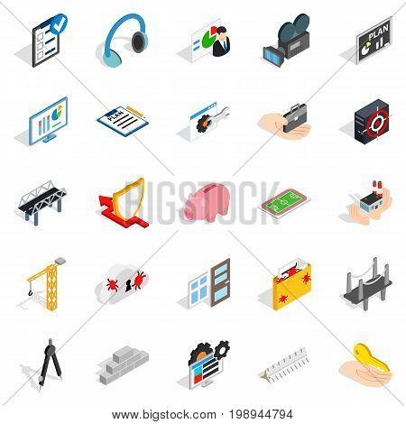 Optimisation icons set. Isometric set of 25 optimisation vector icons for web isolated on white background