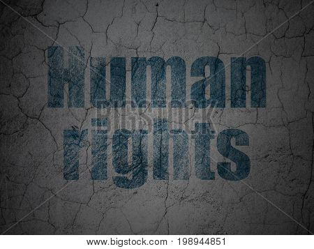 Political concept: Blue Human Rights on grunge textured concrete wall background