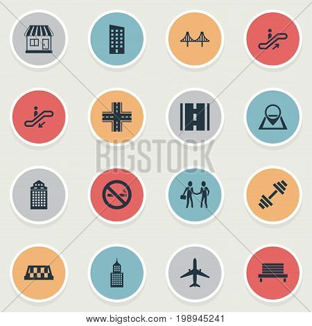 Elements Kiosk, Dumbbell, Skyscraper And Other Synonyms Rope, Skyscraper And Intersection.  Vector Illustration Set Of Simple Infrastructure Icons.