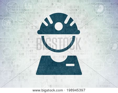 Industry concept: Painted blue Factory Worker icon on Digital Data Paper background with Scheme Of Hand Drawn Industry Icons