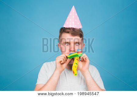 fool crazy man. happy expression. April fools day concept.