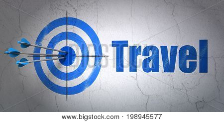 Success travel concept: arrows hitting the center of target, Blue Travel on wall background, 3D rendering