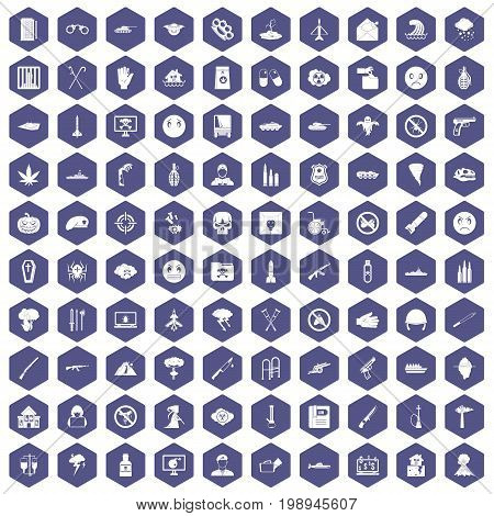 100 oppression icons set in purple hexagon isolated vector illustration
