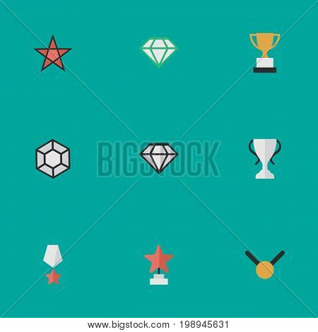 Elements Star, Medal, Gemstone And Other Synonyms Stone, Goblet And Precious.  Vector Illustration Set Of Simple Trophy Icons.