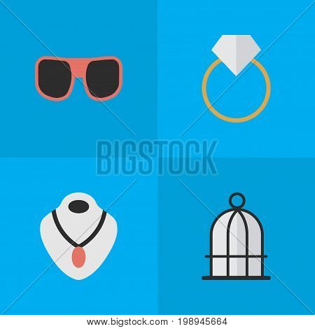 Elements Jewelry, Engagement, Eye Accessory And Other Synonyms Prison, Ring And Choker.  Vector Illustration Set Of Simple Equipment Icons.