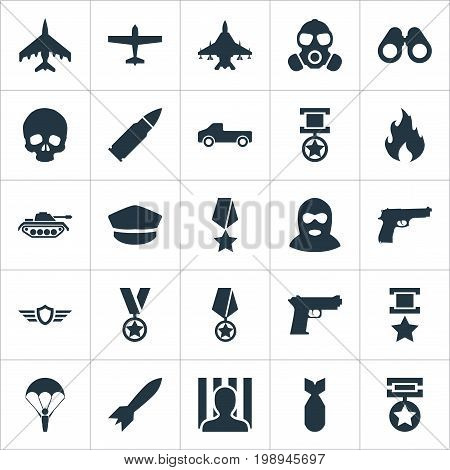 Elements Shot, Medal, Gas Mask And Other Synonyms Space, Hat And Artillery.  Vector Illustration Set Of Simple Combat Icons.