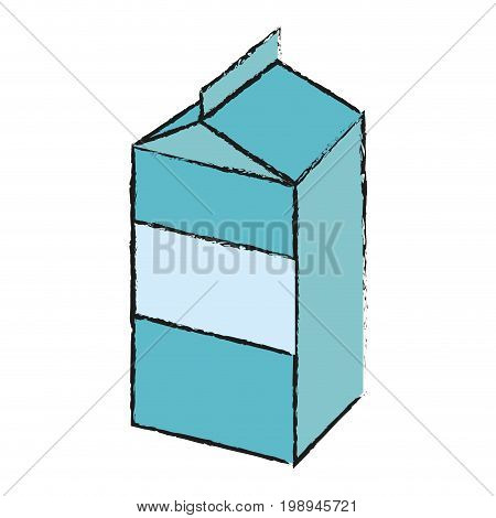 Colorful milk carton doodle over white background vector illustration
