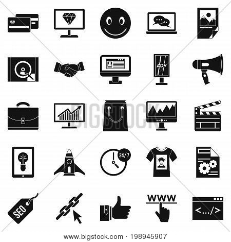Online profit icons set. Simple set of 25 online profit vector icons for web isolated on white background