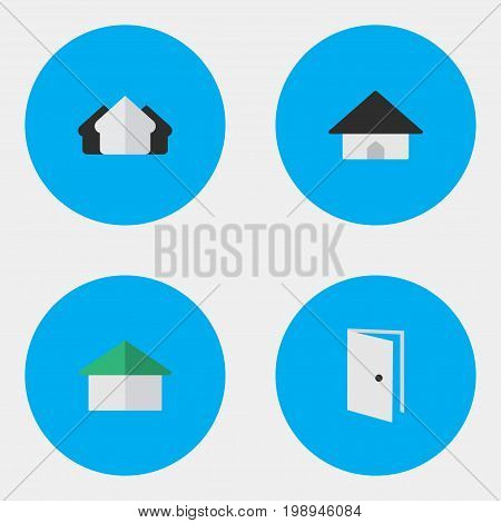 Elements Property, Base, Architecture And Other Synonyms Door, Open And Entry.  Vector Illustration Set Of Simple Real Icons.