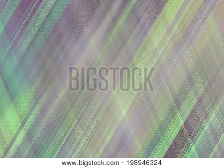 Abstract background with pattern of bright fluorescent green, yellow, violet skew strips. Stylish decorated, textile textured template