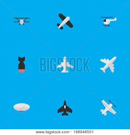Elements Aircraft, Balloons, Flying Vehicle And Other Synonyms Craft, Vehicle And Dynamite.  Vector Illustration Set Of Simple Plane Icons.
