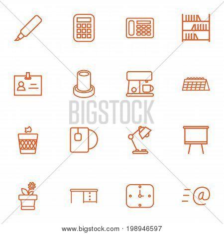 Set Of 16 Bureau Outline Icons Set