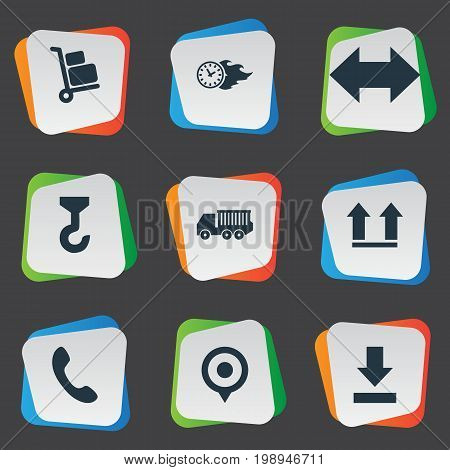 Elements Van, Time In Fire, Top And Other Synonyms Trolley, Crane And Luggage.  Vector Illustration Set Of Simple Systematization Icons.