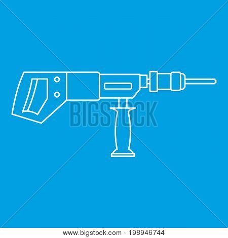 Electric drill, perforator icon blue outline style isolated vector illustration. Thin line sign