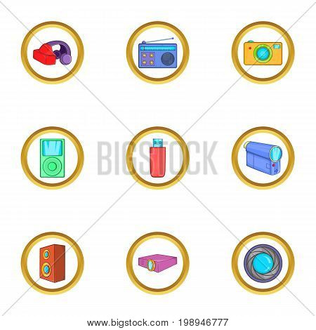 Home gadgets icons set. Cartoon set of 9 home gadgets vector icons for web isolated on white background