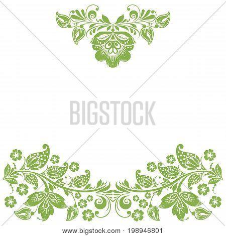 Greenery eco floral frame, foliage background decoration, illustration.