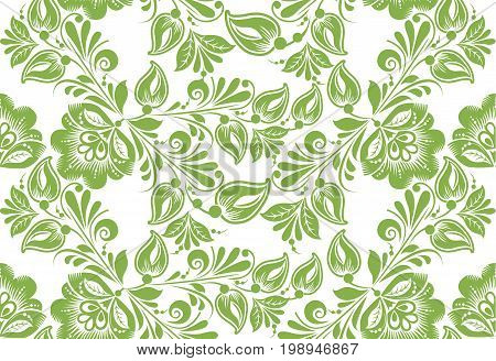 Greenery floral seamless pattern background, illustration. Spring color  leaves foliage