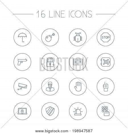 Set Of 16 Procuring Outline Icons Set