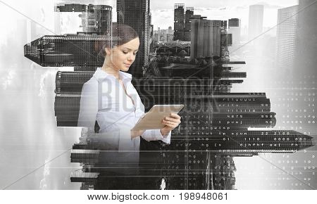 Elegant woman use tablet. Mixed media