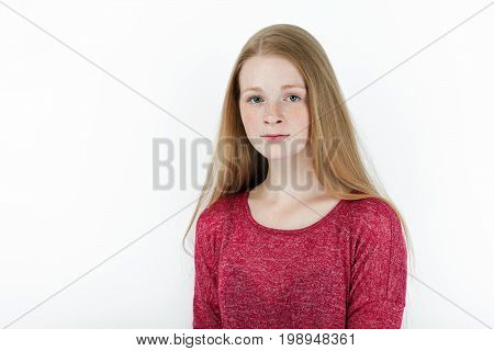 Beauty Portrait Of Young Adorable Fresh Looking Redhead Woman With Gorgeous Extra Long Hair. Emotion