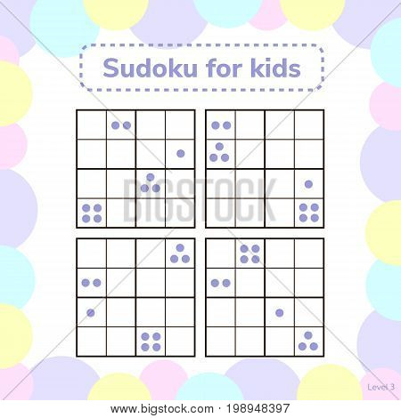Vector Illustration. Sudoku Game For Kids With Pictures. Logic G