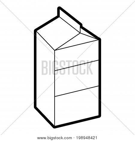 Flat line uncolored milk carton over white background vector illustration