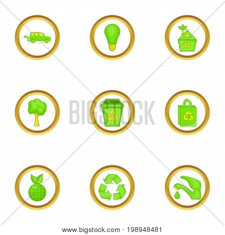 Green things icons set. Cartoon set of 9 green things vector icons for web isolated on white background