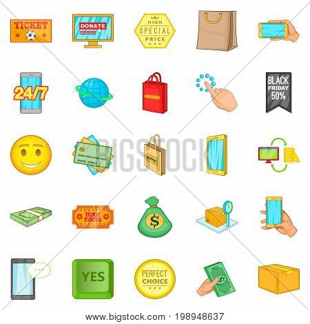 Shop online icons set. Cartoon set of 25 shop online vector icons for web isolated on white background