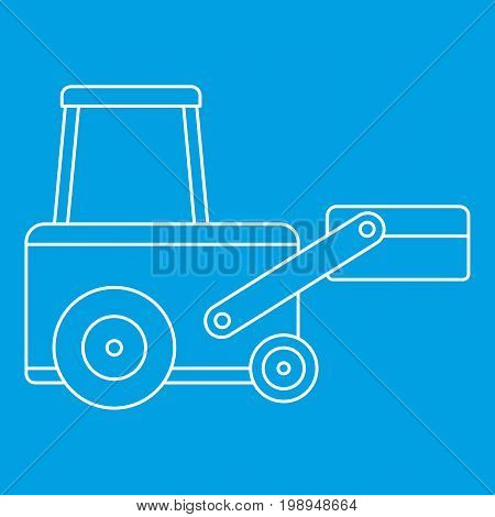 Truck to lift cargo icon blue outline style isolated vector illustration. Thin line sign