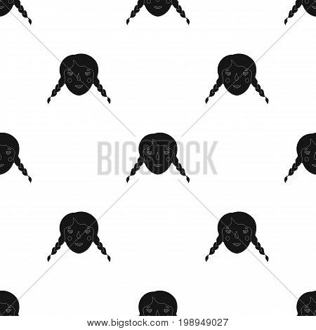 Daughter icon in black design isolated on white background. Family holiday symbol stock vector illustration.