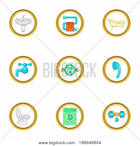 Plumbing work icons set. Cartoon set of 9 plumbing work vector icons for web isolated on white background