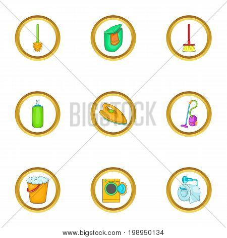 Purification icons set. Cartoon set of 9 purification vector icons for web isolated on white background