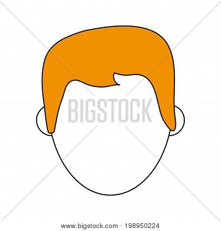 Flat line man head with a hint of color over white background vector illustration