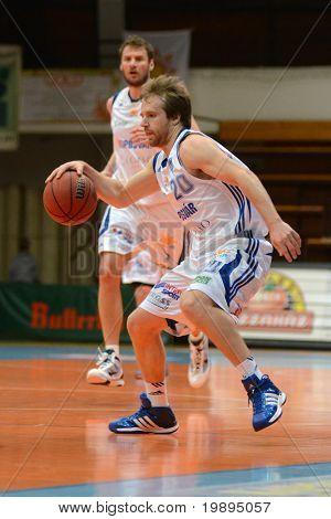 KAPOSVAR, HUNGARY - JANUARY 26: Joshua Wilson (20) in action at a Hugarian Cup basketball game Kaposvar vs. Szeged January 26, 2011 in Kaposvar, Hungary.